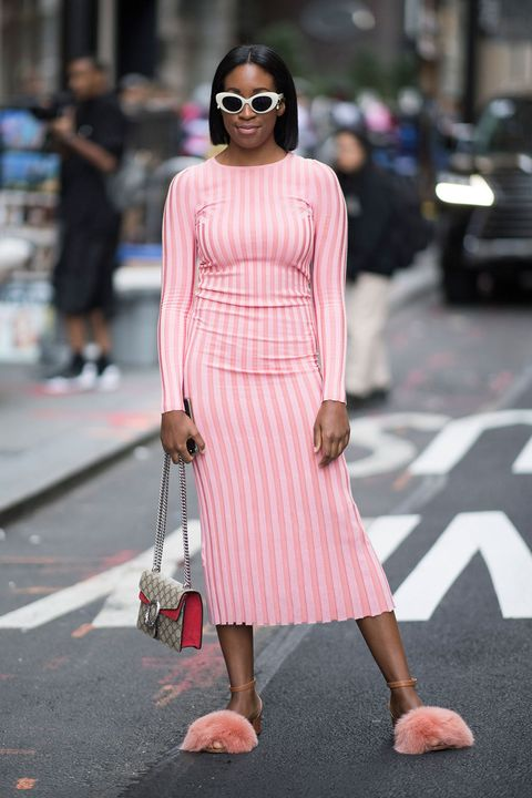 Pink, Clothing, Street fashion, Fashion, White, Dress, Shoulder, Eyewear, Fashion model, Sunglasses,