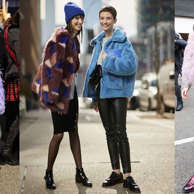 Street fashion, Fashion, Fur, Clothing, Fur clothing, Beanie, Knit cap, Fashion model, Footwear, Snapshot,