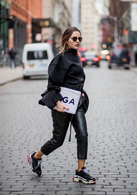 White, Clothing, Street fashion, Black, Fashion, Sportswear, Footwear, Tights, Snapshot, Shoe,