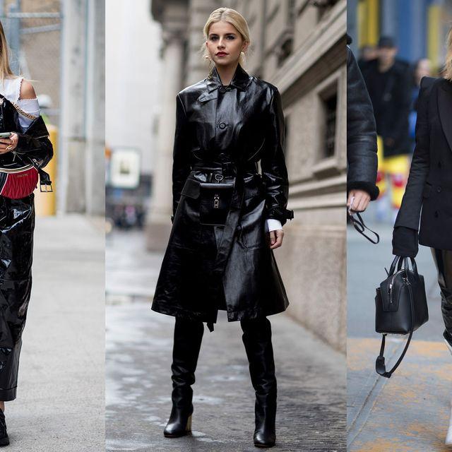 Fashion, Street fashion, Clothing, Fashion model, Knee-high boot, Leather, Leggings, Footwear, Outerwear, Overcoat,