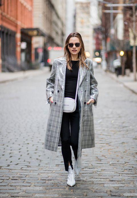 Clothing, Street fashion, White, Photograph, Fashion, Coat, Outerwear, Snapshot, Footwear, Black-and-white,
