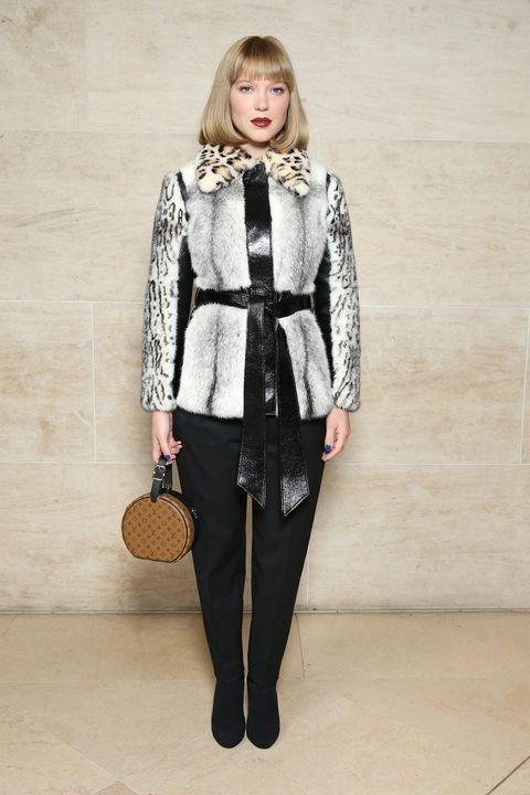 Clothing, White, Fashion, Outerwear, Fashion model, Coat, Suit, Fur, Neck, Waist,