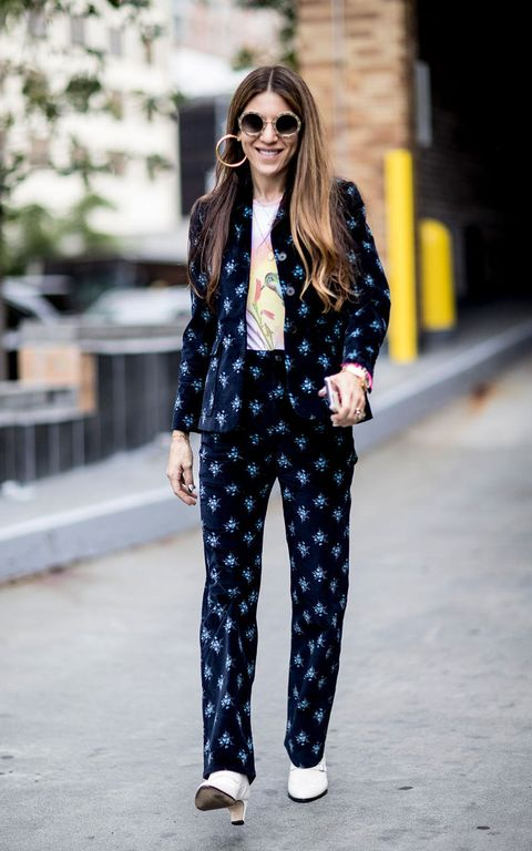 Clothing, Street fashion, Fashion, Black-and-white, Polka dot, Blazer, Outerwear, Eyewear, Sunglasses, Pattern,