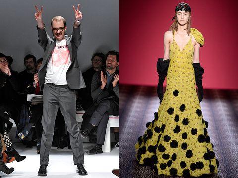 Fashion model, Fashion, Clothing, Runway, Haute couture, Dress, Yellow, Fashion show, Fashion design, Human,