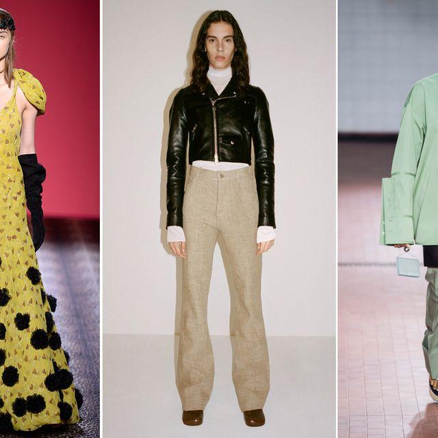 Fashion model, Clothing, Fashion, Green, Yellow, Outerwear, Pattern, Design, Runway, Haute couture,