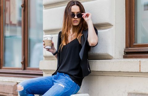 Clothing, Shoulder, Jeans, Fashion, Sleeve, Footwear, Street fashion, Leg, Waist, Joint,