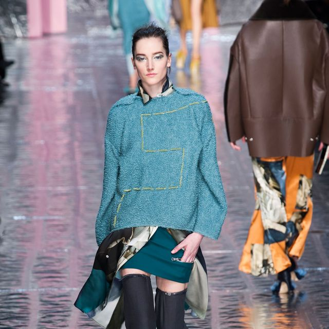 Clothing, Blue, Sleeve, Textile, Joint, Outerwear, Style, Fashion show, Street fashion, Winter,