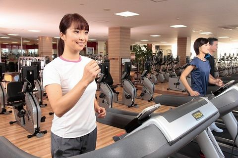 Exercise machine, Exercise equipment, Shoulder, Standing, Physical fitness, Exercise, Ceiling, Gym, Treadmill, Chest,