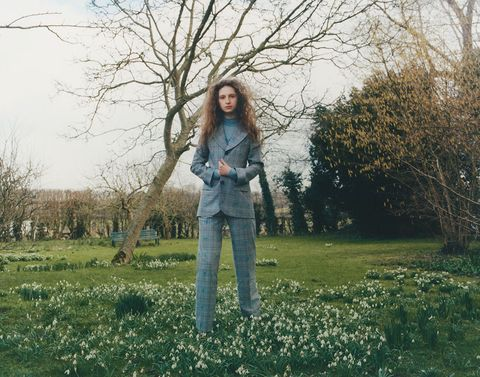People in nature, Photograph, Jeans, Green, Grass, Tree, Blue, Denim, Branch, Natural landscape,