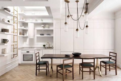 Wood, Floor, Room, Interior design, Flooring, Ceiling fixture, White, Table, Ceiling, Light fixture,