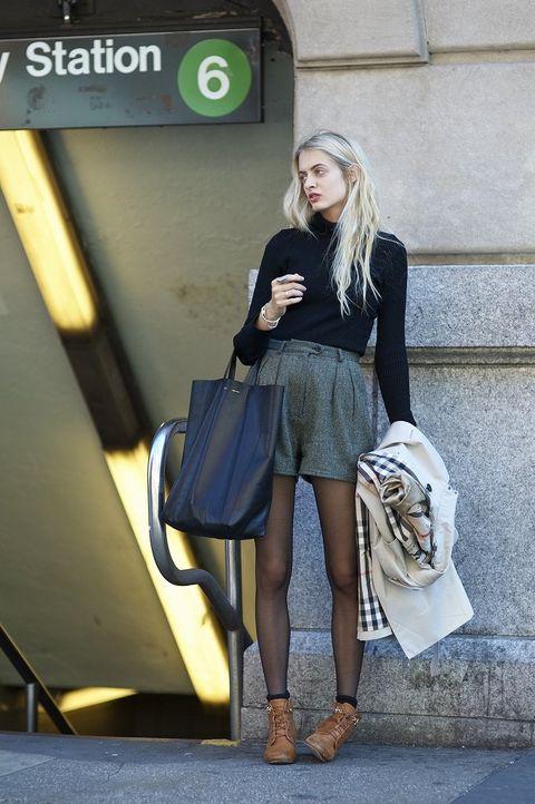 Bag, Outerwear, Human leg, Style, Street fashion, Luggage and bags, Fashion accessory, Knee, Fashion, Beauty,