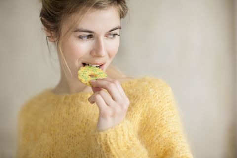 Lip, Jaw, Eyelash, Eating, Taste, Sweetness, Food craving, Wool, Earrings, Knitting,