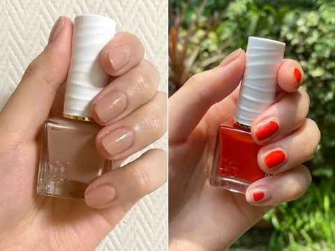 Finger, Skin, Nail, Liquid, Fluid, Nail care, Thumb, Nail polish, Manicure, Peach,