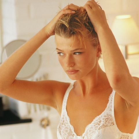 Hair, Blond, Hairstyle, Beauty, Skin, Arm, Shoulder, Forehead, Long hair, Undergarment,