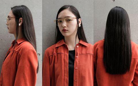 Hair, Face, Hairstyle, Beauty, Long hair, Fashion, Orange, Brown hair, Neck, Step cutting,