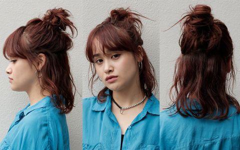 Hair, Hairstyle, Face, Hair coloring, Chin, Long hair, Brown hair, Step cutting, Bangs, Layered hair,