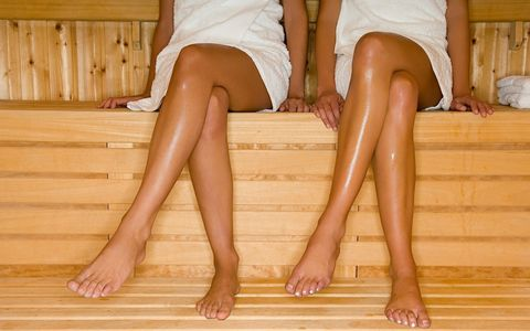 Leg, Human leg, Thigh, Foot, Toe, Calf, Human body, Sauna, Long hair, Sitting,