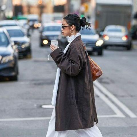 Clothing, Land vehicle, Road, Outerwear, Street, Car, Bag, Style, Street fashion, Coat,