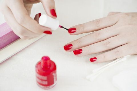Finger, Red, Nail, Liquid, Carmine, Nail polish, Nail care, Manicure, Tints and shades, Coquelicot,