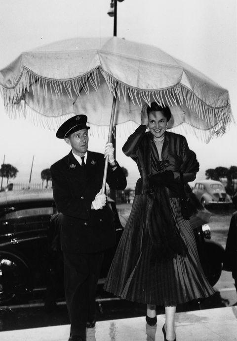 Umbrella, Photograph, Black, Luxury vehicle, Snapshot, Black-and-white, Monochrome, Classic, Standing, Fashion,