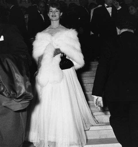 Fur, Fur clothing, White, Photograph, Clothing, Fashion, Dress, Gown, Standing, Black-and-white,