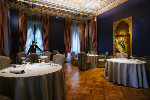 Restaurant, Room, Property, Interior design, Building, Curtain, Function hall, Textile, Furniture, Table,