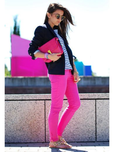 Clothing, Eyewear, Trousers, Shoe, Textile, Magenta, Outerwear, Sunglasses, White, Pink,
