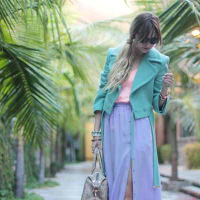 Clothing, Bag, Textile, Outerwear, Purple, Style, Street fashion, Fashion accessory, Lavender, Luggage and bags,