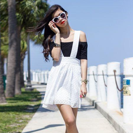 Clothing, Footwear, Eyewear, Glasses, Dress, Shoe, Sunglasses, Human leg, Textile, White,