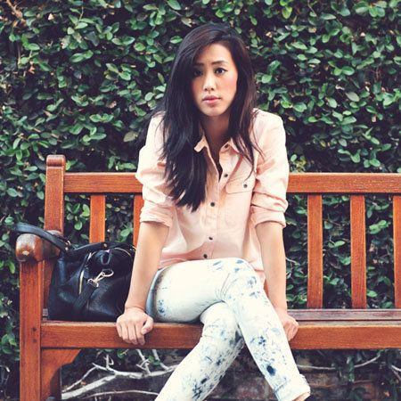 Clothing, Brown, Sleeve, Shoulder, Denim, Jeans, Sitting, Joint, Outerwear, Style,