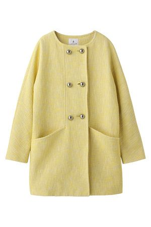 Clothing, Product, Yellow, Sleeve, Coat, Textile, Outerwear, White, Collar, Khaki,