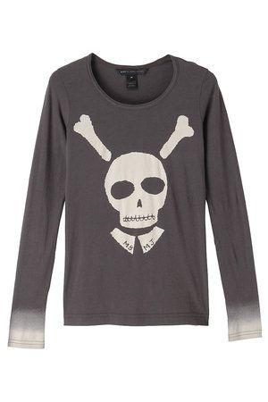 Product, Sleeve, White, Bone, Black, Skull, Grey, Active shirt,