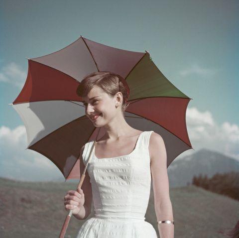 Umbrella, Beauty, Skin, Pink, Fashion accessory, Fashion, Sky, Fun, Dress, Photography,
