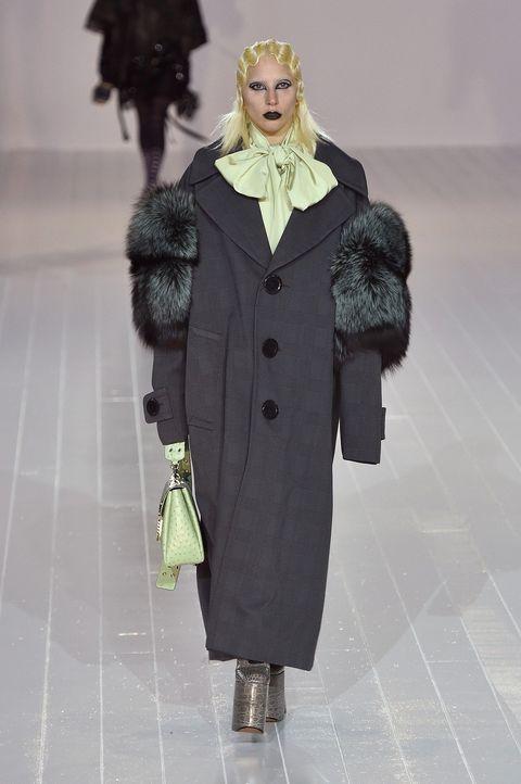 Fashion, Clothing, Fashion show, Fashion model, Runway, Coat, Fur, Overcoat, Outerwear, Haute couture,