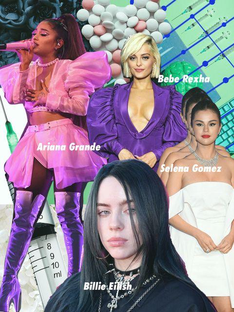 Face, Mouth, Microphone, Pink, Dress, Fashion accessory, Fashion, Eyelash, Purple, Music artist,