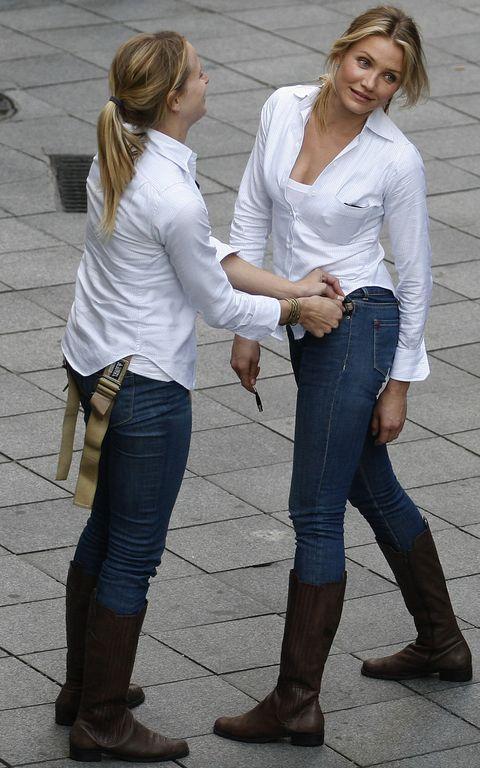 Jeans, White, Clothing, Denim, Blond, Standing, Footwear, Snapshot, Fashion, Leg,