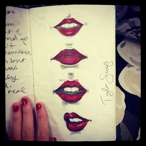 Lip, Finger, Red, Lipstick, Nail, Carmine, Nail polish, Manicure, Handwriting, Cosmetics,