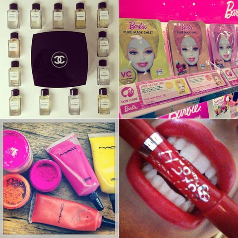 Magenta, Pink, Toy, Purple, Bangs, Eyelash, Telephony, Doll, Material property, Portable communications device,