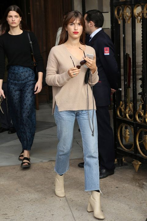 Clothing, Footwear, Leg, Trousers, Human body, Denim, Textile, Standing, Outerwear, Style,