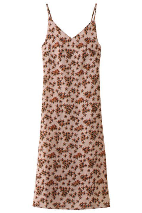 Brown, Product, Textile, Sleeveless shirt, Dress, White, Pattern, One-piece garment, Orange, Day dress,