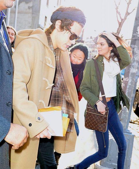 Trousers, Winter, Textile, Outerwear, Bag, Coat, Jacket, Denim, Cap, Street fashion,