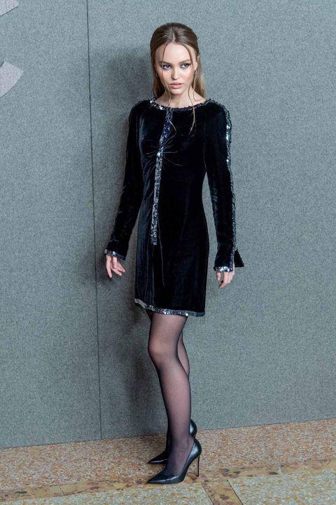 Clothing, Black, Dress, Little black dress, Fashion, Tights, Fashion model, Footwear, Leg, Velvet,