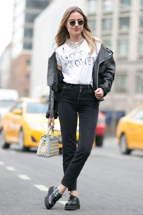 Clothing, Eyewear, Sunglasses, Textile, Outerwear, White, Collar, Bag, Street, Street fashion,