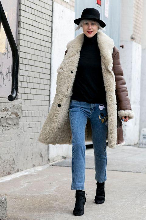 Clothing, Leg, Brown, Winter, Sleeve, Trousers, Denim, Jeans, Hat, Textile,