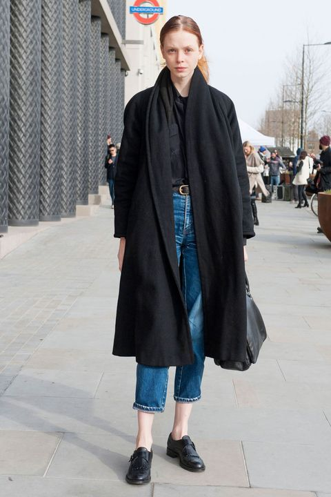 Clothing, Outerwear, Style, Street fashion, Wrap, Electric blue, Bag, Overcoat, Fur, Mantle,