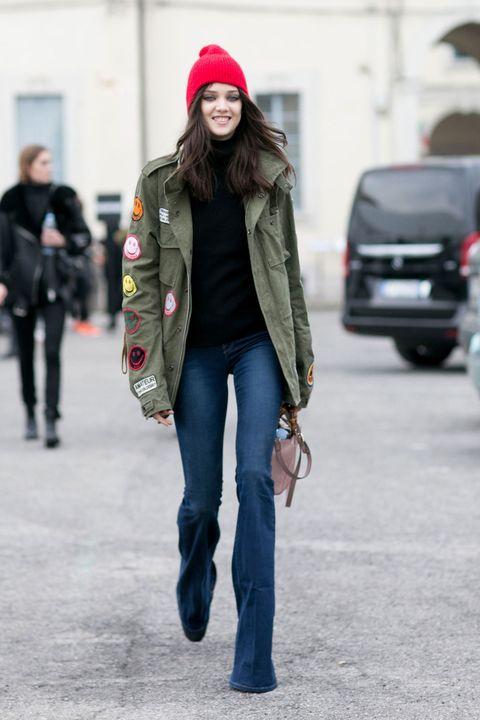 Clothing, Brown, Trousers, Human body, Denim, Textile, Jeans, Outerwear, Winter, Street fashion,