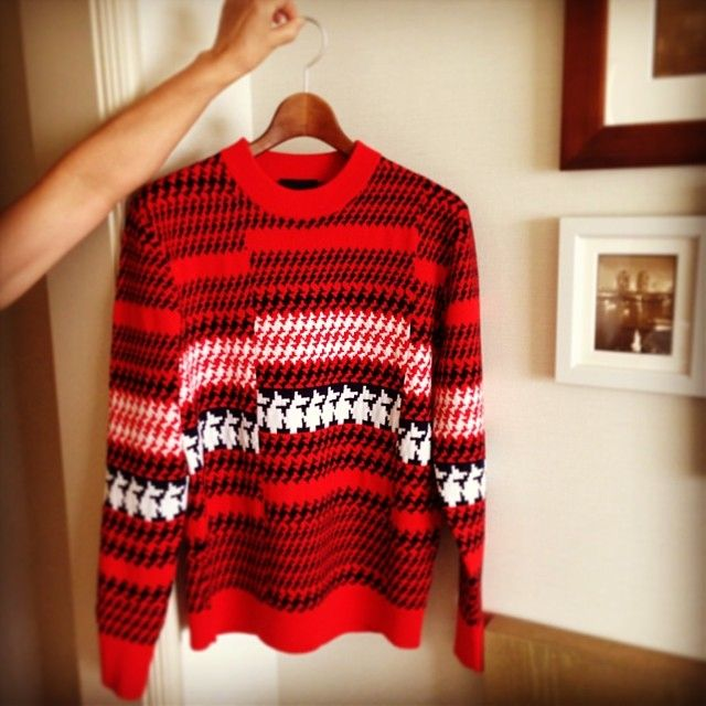 Product, Sweater, Sleeve, Shoulder, Pattern, Textile, Red, Picture frame, Woolen, Wool,