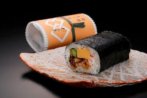 Food, Gimbap, Dish, Cuisine, Sushi, Comfort food, California roll, Ingredient, Japanese cuisine, Side dish,