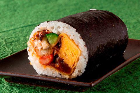 Dish, Food, Cuisine, Gimbap, Comfort food, Ingredient, Steamed rice, Spam musubi, Sushi, Produce,