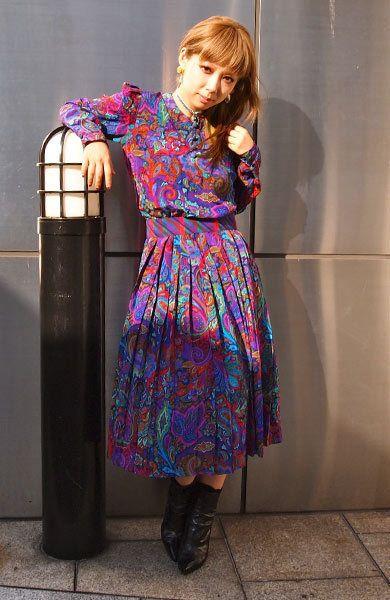 Clothing, Dress, Purple, One-piece garment, Day dress, Boot, Street fashion, Long hair, Fashion model, Makeover,